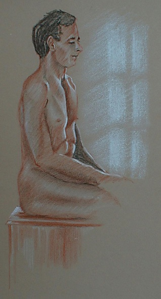 Seated male nude in pastel ? 30 minute sketch. I seated the model near a ...